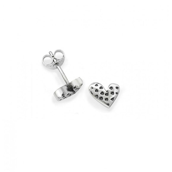 Silver Dotty Heart Stud Earrings
