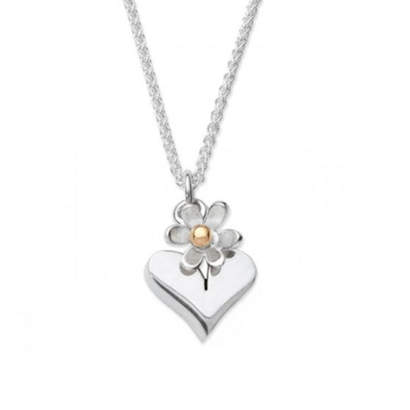 Silver Plain Heart with Daisy Drop Necklace