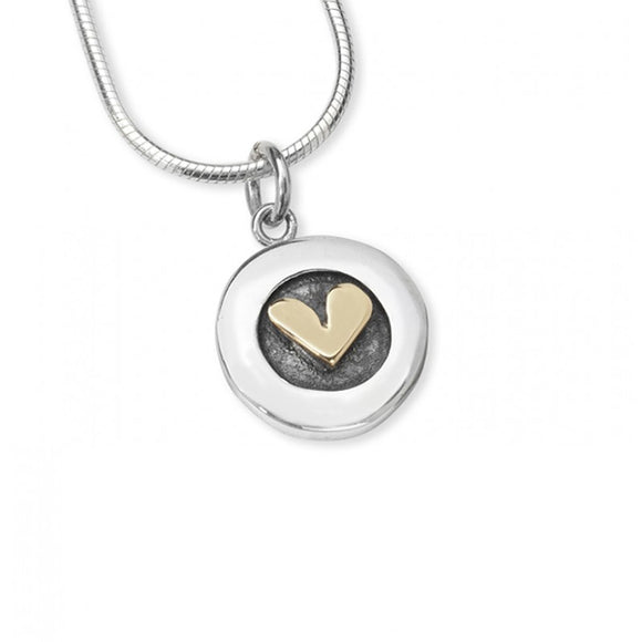 Silver and Gold Button Heart Necklace.