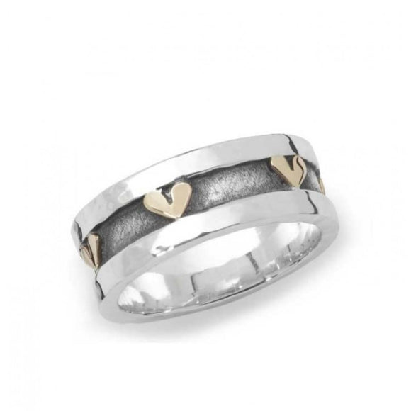 Silver and Gold Heart Wide Band