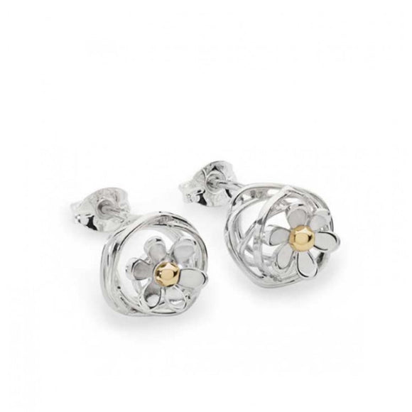 Silver and 9ct Gold Wire Ball with Daisy Stud Earrings