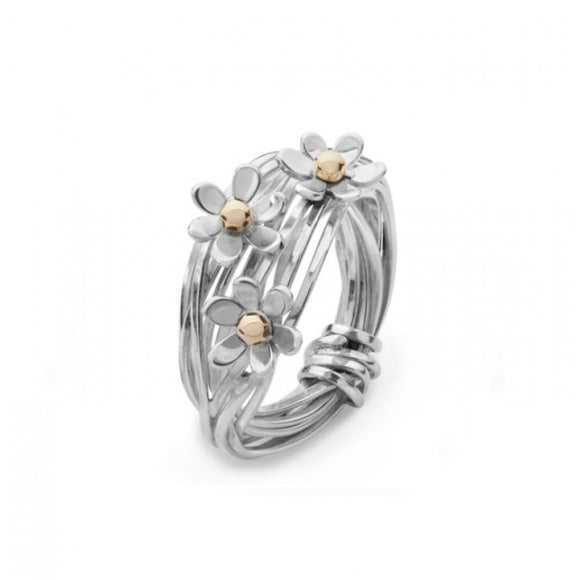 Silver and 9ct Gold Daisy Ring