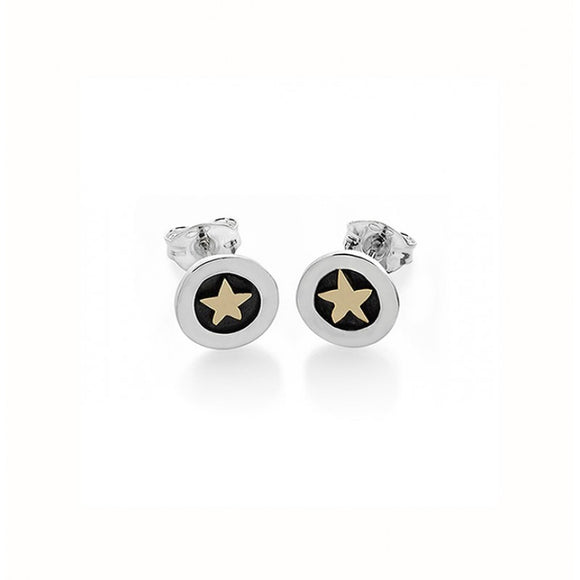 Silver and 9ct Gold Star Stud Earrings