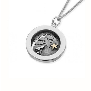 Silver Necklace with Rabbit looking at the Star