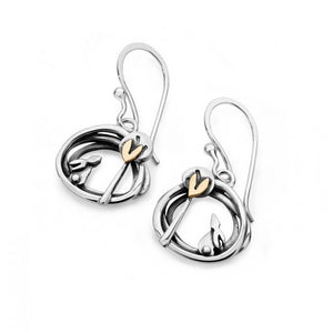 Silver and 9ct Gold drop Into the Woods Earrings