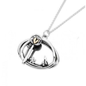 Silver and Gold Into the Woods Scene Necklace