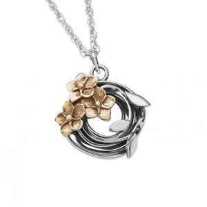 Silver and 9ct Gold Floral Necklace