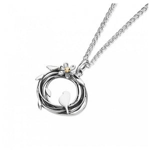 Silver and 9ct Gold Bird Necklace