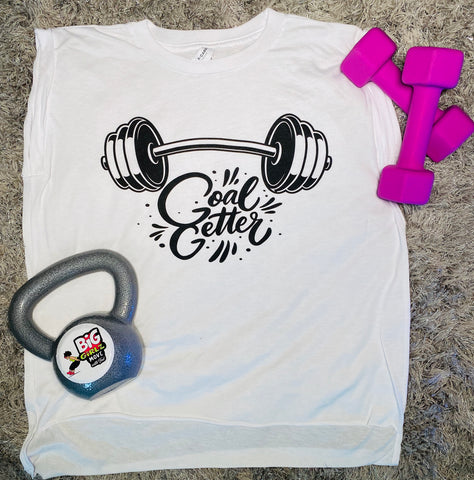 """Limited Edition"" GOAL GETTER Ladies' Flowy Muscle T-Shirt with Rolled Cuff"