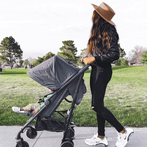 Your Babiie Christina Milian Charcoal Stripes Stroller