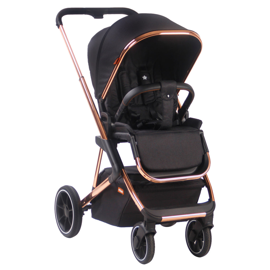 "LIMITED EDITION! AM:PM by Christina Milian - Black & Rose Gold ""Belgravia"" Stroller & Bassinet"