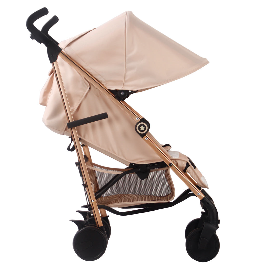"AM:PM by Christina Milian - Rose Gold & Blush Stripes ""Corinthia"" Lightweight Stroller"
