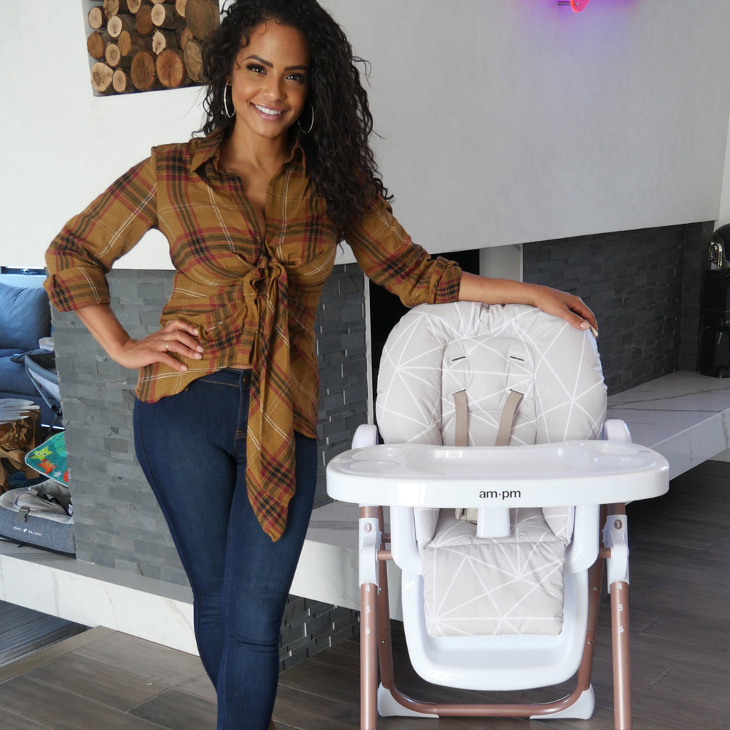 "AM:PM by Christina Milian - Geometric Mocha ""Fitzrovia"" High Chair"