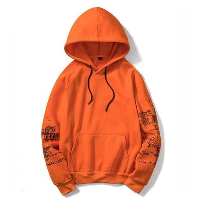Hoodie tample - orange / S