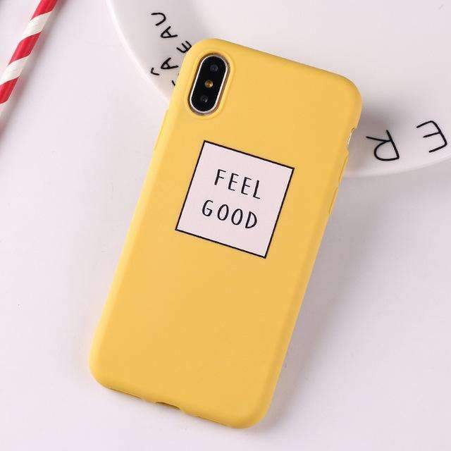 Coque Feel Good jaune iPhone