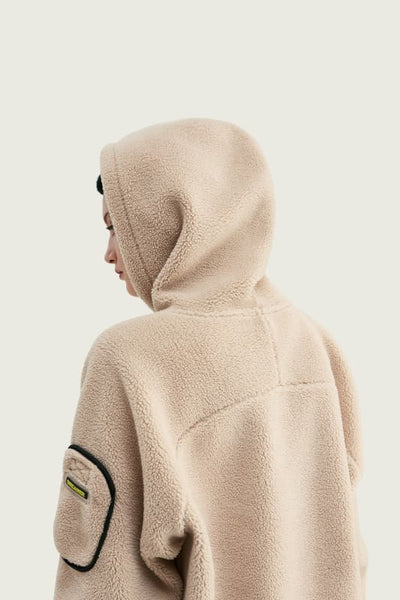 Sweat à capuche en velours - Beige