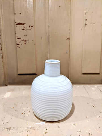 White Stripe Bud Vase