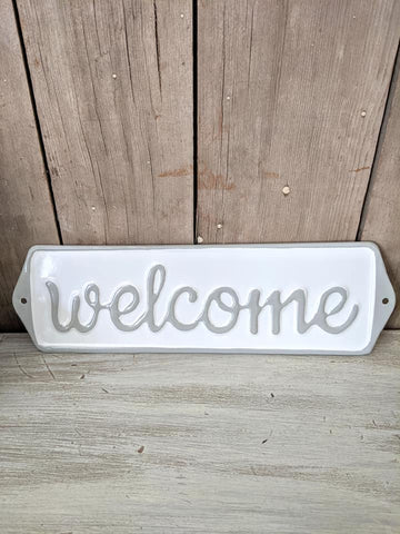 Welcome Enamel Sign