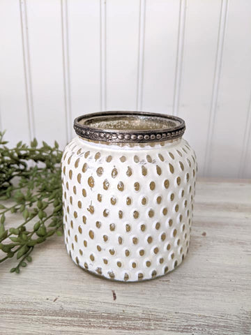 White Hobnail Candle Holder