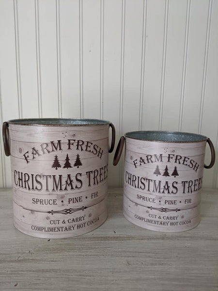 Farm Fresh Christmas Tree Buckets Set/2