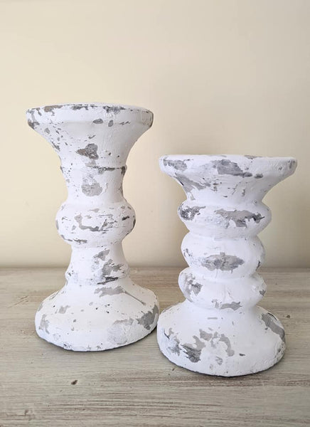 Antiqued White Cement Candle Holders
