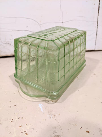 Vintage Green Glass Butter Dish