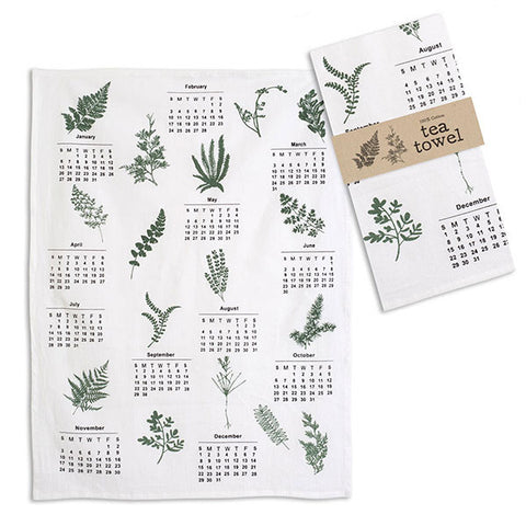 Greenery Calender Tea Towel