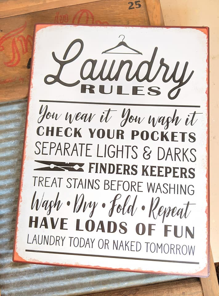 Laundry Rules Sign