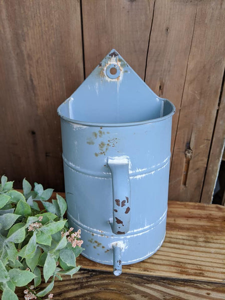 Rustic Blue Watering Can Flower Holder