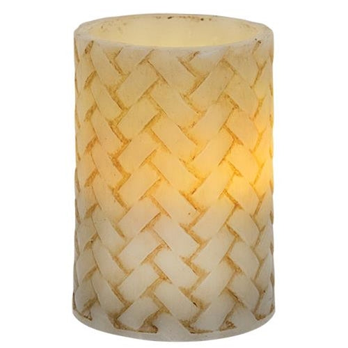 BasketWeave Pillar Timer Candle