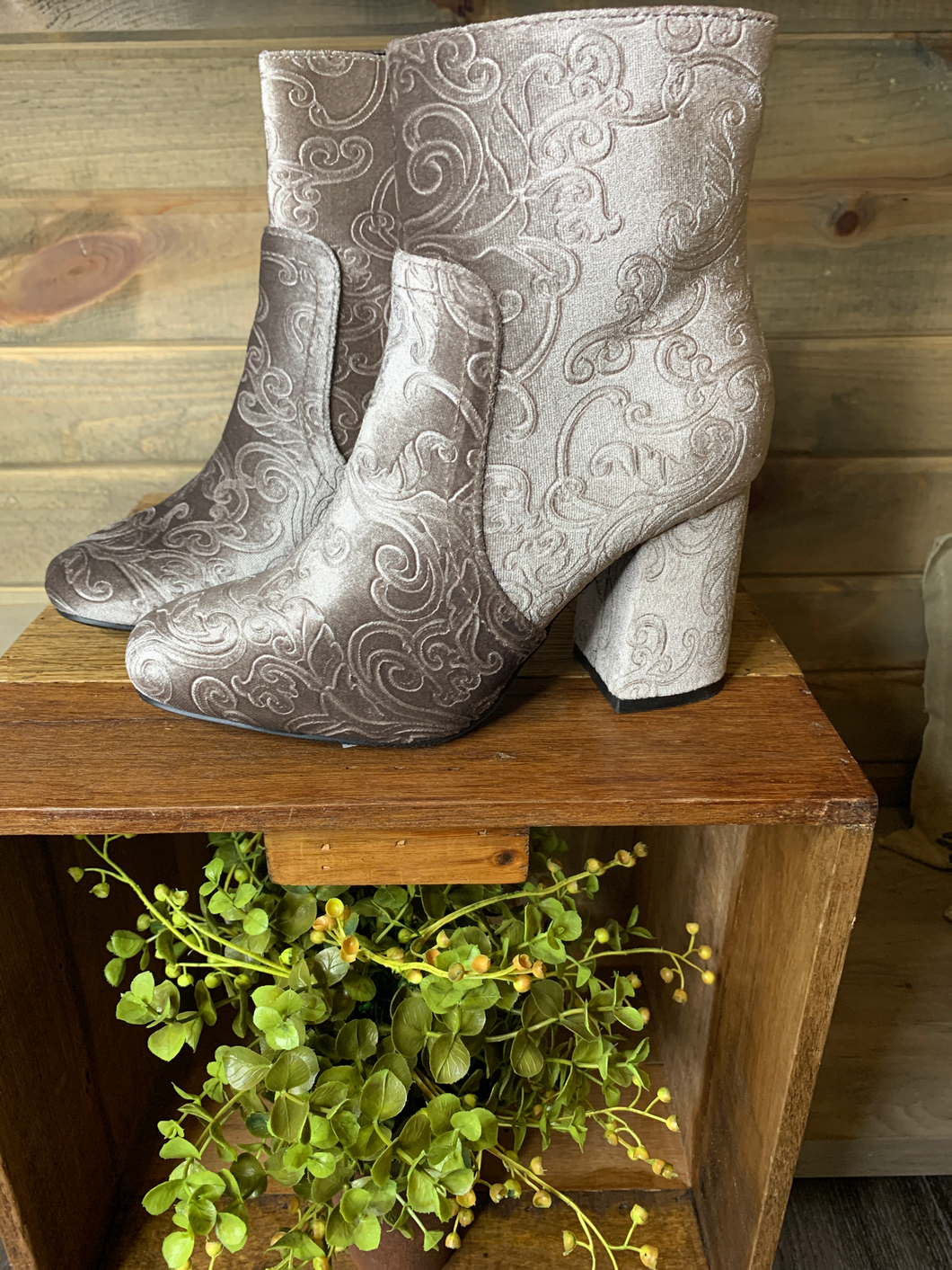 Taupe Velvet Booties