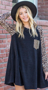 Animal Print Sequined Pocket Tunic