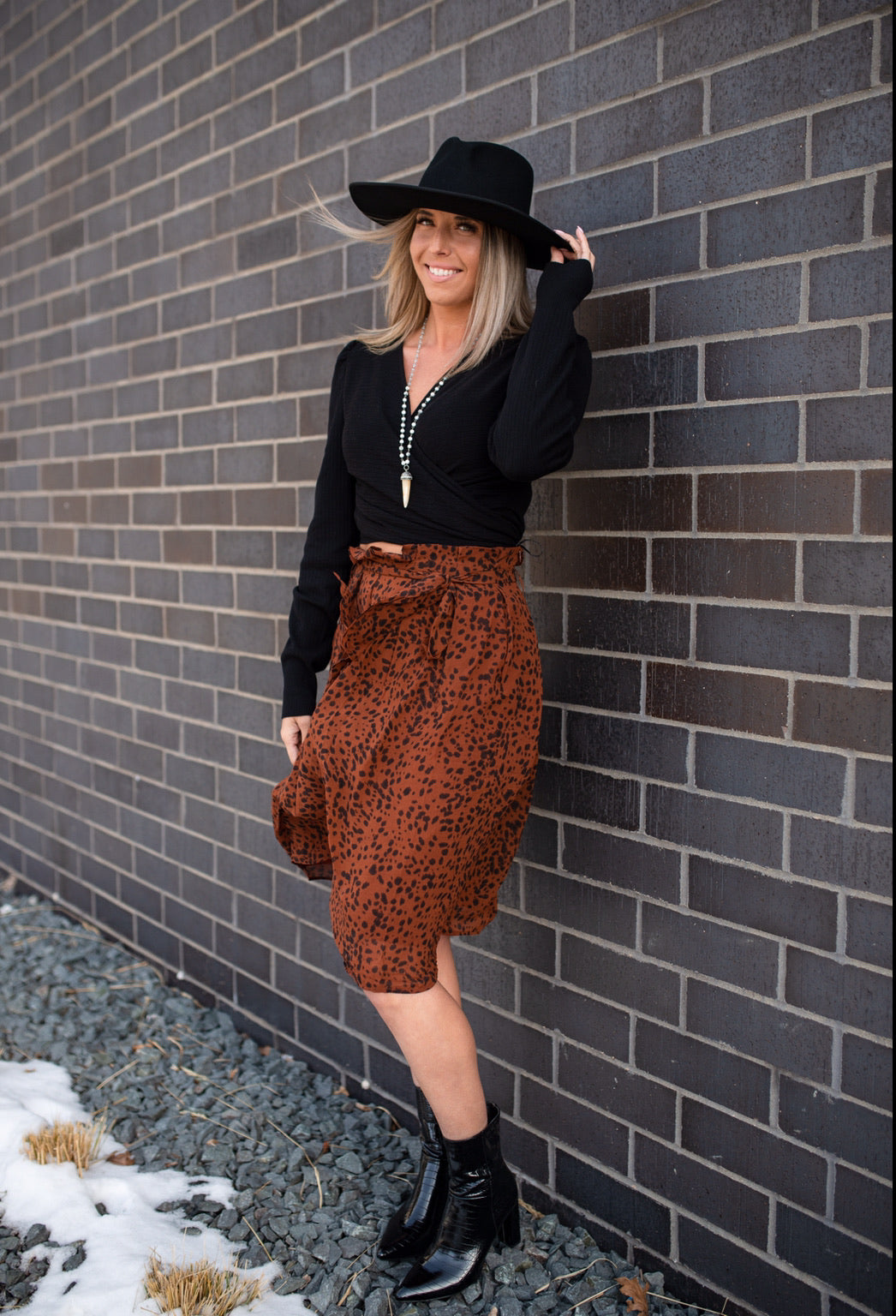 Rust Paper Bag Skirt with Leopard Print