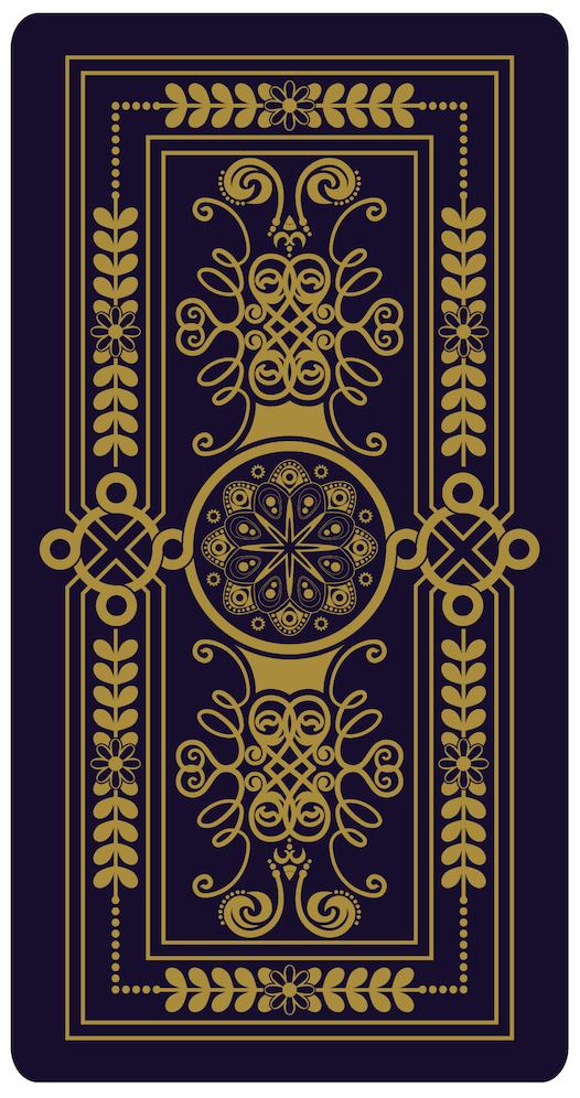 Dark blue tarot card back illustration, pictured face-down with an intricate design and decorative motifs