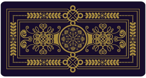 Horizontal tarot card, facing downward. This card is intricately patterned in navy blue and tarnished gold colours.