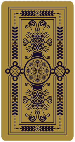 Gold tarot card design, pictured face-down with intricate symbols