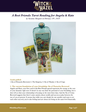 Load image into Gallery viewer, An online preview of the Best Friends tarot reading featuring Rider-Waite-Smith cards and detailed text analyzing the fortune telling from the cards