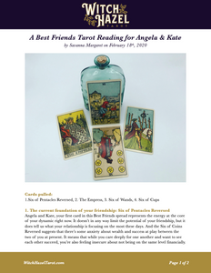 An online preview of the Best Friends tarot reading featuring Rider-Waite-Smith cards and detailed text analyzing the fortune telling from the cards