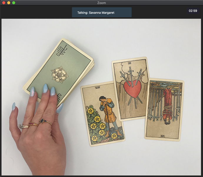 Screenshot of a 15-minute online tarot reading over Zoom video chat