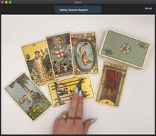 Load image into Gallery viewer, Screenshot of a 30-minute online tarot reading over Zoom video chat