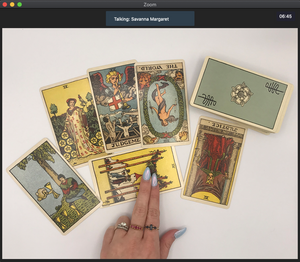 Screenshot of a 30-minute online tarot reading over Zoom video chat