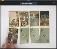 Load image into Gallery viewer, Screenshot of a 45-minute online tarot reading over Zoom video chat