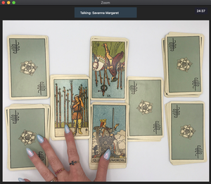 Screenshot of a 60-minute online tarot reading over Zoom video chat