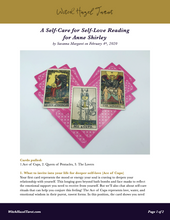 Load image into Gallery viewer, Self-Care for Self-Love tarot reading preview, featuring the previous photo as well as text explaining what each tarot card means