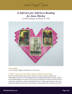 Self-Care for Self-Love tarot reading preview, featuring the previous photo as well as text explaining what each tarot card means