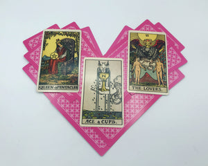 Self-Care for Self-Love tarot spread preview with Rider-Waite-Smith tarot cards on a heart of pink playing cards
