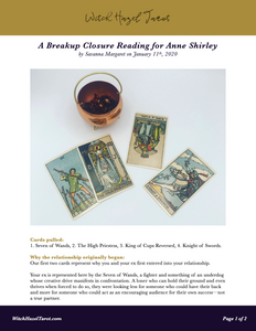 A preview of the online Breakup Closure tarot reading with the previous photo and detailed analysis text
