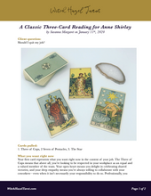 Load image into Gallery viewer, A PDF preview of the classic three-card tarot reading featuring the previous photo and detailed text explaining the meaning of the cards