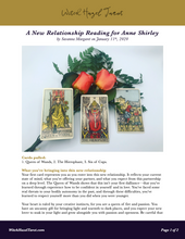 Load image into Gallery viewer, A preview of the New Relationship tarot reading as a digital PDF, featuring the previous image and analysis text