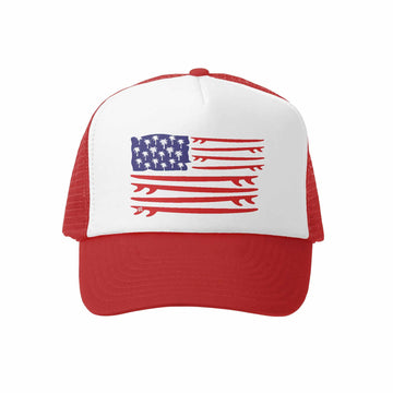 Kids Trucker Hat - Board Flag in Red and White